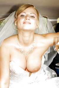 Real amateur newly-wed wives get naughty in their wedding...