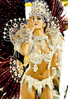 Glamorous Latina girls on carnival in Brazil