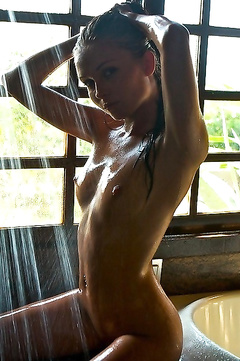 Luscious babes covered in oil and bubbles