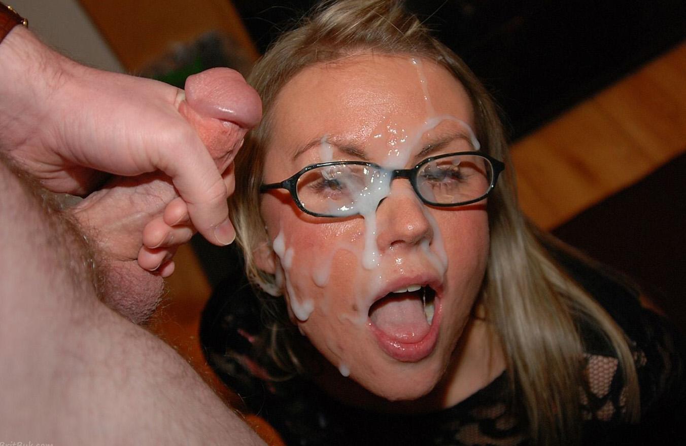 Girl with glasses loves cumshot