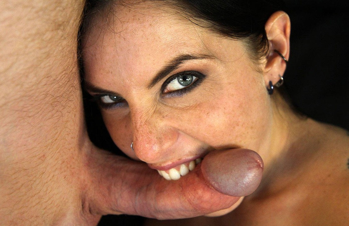 Femdom blowjob with ball slapping and dick biting